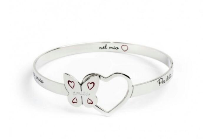 molto carino 24b90 552da Marlu bracciale rigido in acciaio, farfalla