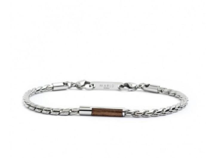 vendita calda online 44ba1 6ba88 Marlu bracciale uomo in catena cannetta piccola in acciaio e legno