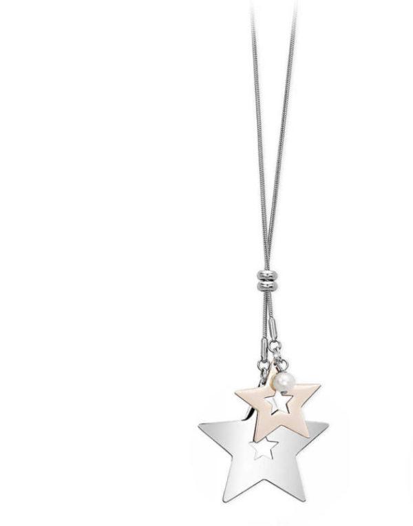 Collana in acciaio con stelle bicolore