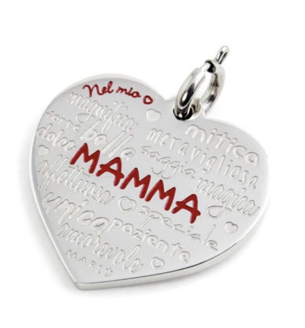 CHARM CUORE MAMMA CON SMALTO BIANCO