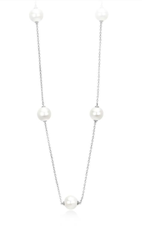 Girocollo in Argento 925/°°° e Perle Coltivate Lunghezza cm 80